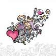 Heart of love / doodle vector illustration — Stock Vector