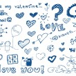 Freehand elements with love / doodles set / vector — Stock Vector