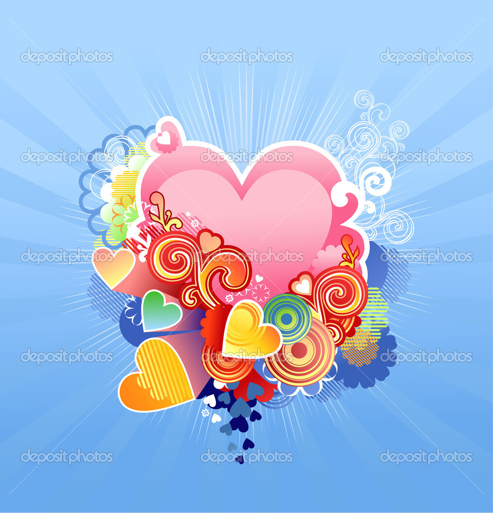 Love heart / valentine's or wedding /  vector illustration The layers are included — Stock Vector #8933932