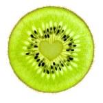 Heart of a Kiwi / Super Macro / back lit — Stock Photo