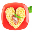 I love Pasta / Spaghetti isolated on white / Heart Shape — Stock Photo #9763009