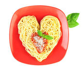 I love Pasta / Spaghetti isolated on white / Heart Shape — Stock Photo