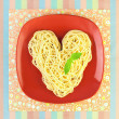 I love Pasta / Spaghetti with plate and tablecloth / Heart Shape - Stock Photo