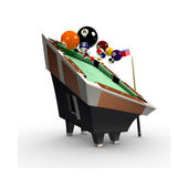 3d deformed Billiards pool table with balls,chalk and cue-stick — Stock Photo