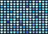 3d 集合浮动爱在多个蓝色在深蓝色的心 — 图库照片