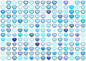 3d коллекция плавающей любовь сердца нескольких синего цвета на белом фоне — Стоковое фото