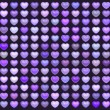 Постер, плакат: 3d collection floating love heart in multiple purple on deep pur