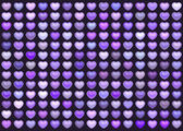 3d collection floating love heart in multiple purple on deep pur — Stock Photo