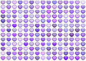 3d collection floating love heart in multiple purple — Stock Photo