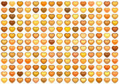 3d collection floating love heart in multiple orange on white — Stock Photo