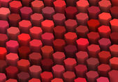 Abstract 3d render hexagon backdrop in red colors — Stock Photo