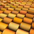 Stock Photo: Abstract 3d render multiple yellow orange cylinder backdrop patt