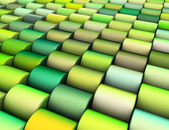Abstract 3d render multiple green yellow cylinder backdrop patte — Stock Photo