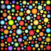 Glossy abstract sphere bubble pattern in multiple color on black — Stock Photo
