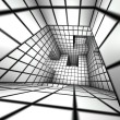 3d render white tiled labyrinth — Stock Photo