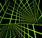 Futuristic green on black 3d render tiled labyrinth — Stock Photo