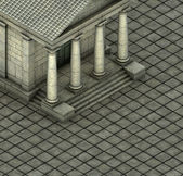 Isometric 3d render of a Greek Roman temple — Stock Photo