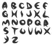 3d render of black organic alphabet fonts — Stock Photo