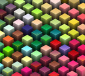 Isometric 3d render of beveled cubes in multiple bright colors — Stock Photo