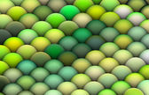 Isometric 3d render of balls in multiple bright green — Stock Photo