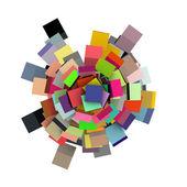 3d rendering cubi concentrici in più colori su bianco — Foto Stock