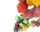 3d render strings of cubes in multiple rainbow colors on white — Stock Photo
