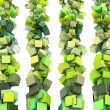 Stock Photo: 3d render strings of cubes in multiple shades of green
