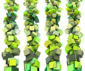 3d render strings of cubes in multiple shades of green — Stock Photo