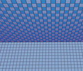 3d render blue purple tiled wall floor pavement — Photo