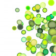 3d render strings of balls in multiple shades of green — Stock Photo
