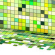 Stock Photo: 3d render mixed green tiled wall floor pavement