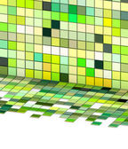 3d render mixed green tiled wall floor pavement — Stock Photo