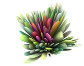 Rendu 3d abstrait motif floral en plusieurs couleurs vives — Photo