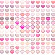 Royalty-Free Stock Photo: 3d render collection floating love heart in multiple pink on whi