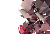 3d render of explosion in pink red purple fragmented pieces — Stock Photo