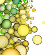 Royalty-Free Stock Photo: 3d render abstract multiple green yellow bubble backdrop