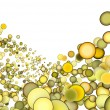 3d render abstract multiple yellow bubble backdrop — Stock Photo