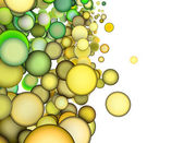 3d render abstract multiple green yellow bubble backdrop — Stock Photo