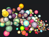3d render strings of floating glossy sphere in multiple colors — Stock Photo