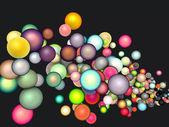 3d render strings of floating glossy sphere in multiple colors — Stock Photo