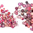3d render strings of floating balls in multiple glossy pink red — Stockfoto