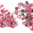 3d render strings of floating balls in multiple glossy pink red - Stock Photo
