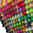 3d render of hexagon backdrop in multiple bright colors - Stock Photo