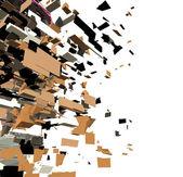 Fragmented 3d abstract graffiti modern sculpture render — Stock Photo