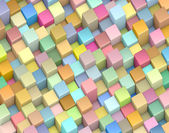 Abstract 3d render backdrop cubes in multiple rainbow color — Stock Photo