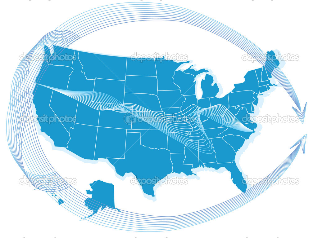 USA  map  with arrows — Stock Vector #9620255