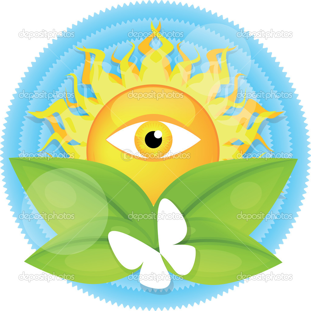 Big shining sun with eye on blue sky — Stock Vector #10395428