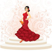Spanish flamenco woman with a fan, vector illustration — Stock Vector