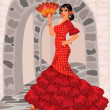 Spanish woman  in style of a flamenco - Stock Vector