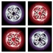 Set diamond poker chips, vector illustration - Imagen vectorial